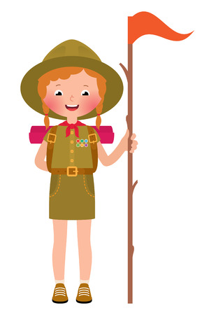 Vector illustration of a smiling baby girl scout
