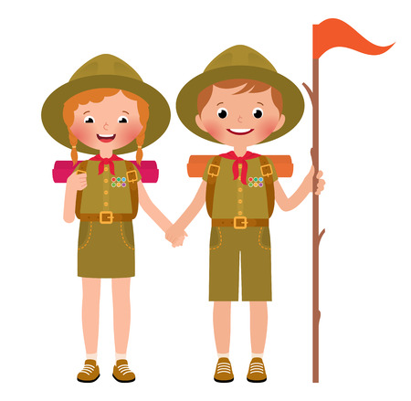 woman hiking: Vector illustration of children boy and girl scouts Illustration