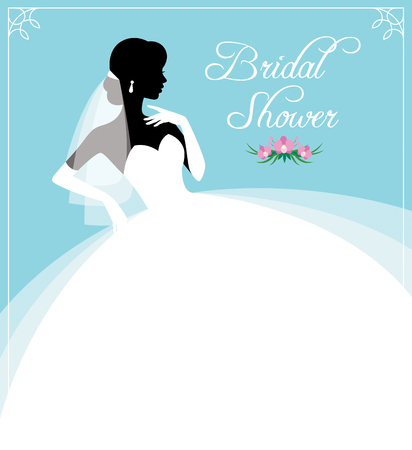 Template for design invitations to the bridal shower or wedding silhouette of the bride