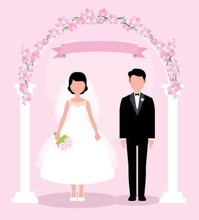 The bride and groom in full length stand under the wedding floral arch vector illustration in a flat style