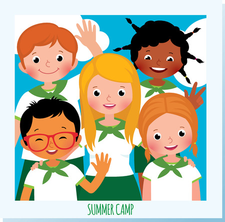 Group of happy children in a childrens summer camp was photographed standing with arms around each other. Illustration