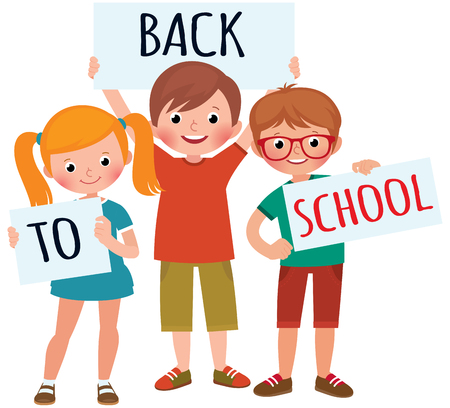 Vector cartoon illustration group of children students girl and a boy hold a board for back to school