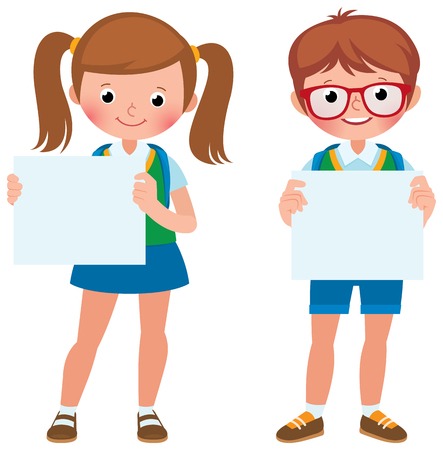 Vector cartoon illustration of two students in a full length are holding a blank banner