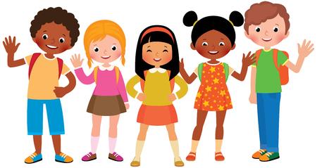 Group of children students Stock Vector cartoon illustration