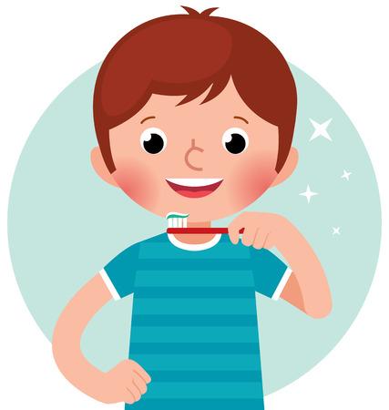Vector cartoon illustratie van een schattige kleine jongen poetsen zijn tanden met een tandenborstel