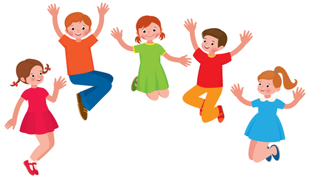 Group of cheerful children in a jump vector cartoon illustration