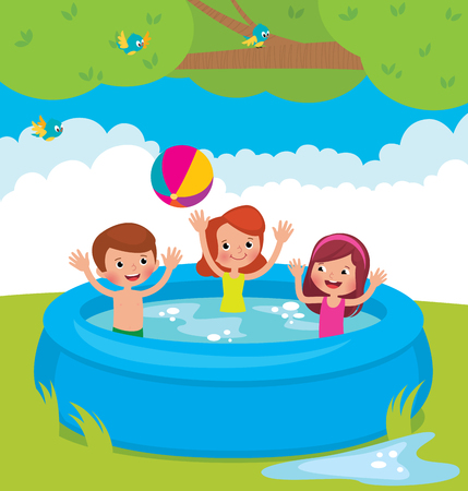 Vector cartoon illustration of children bathing in an inflatable outdoor swimming pool