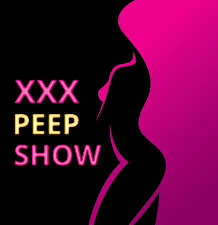 Banner or poster erotic show for adults, pip show. Stock Vector Graphics