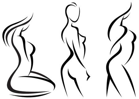 Set gestileerde mooie vrouwen silhouetten vector illustratie Stock Illustratie