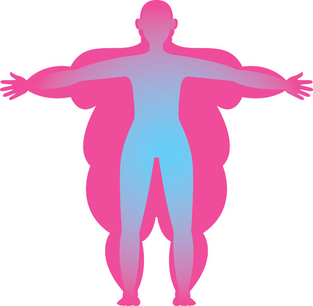 Silhouette of a person with excessive and normal body mass vector illustration Illustration