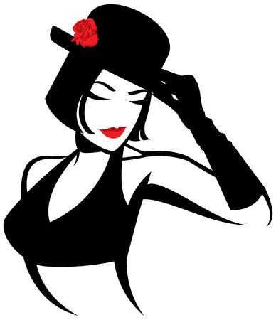 Vector l'illustrazione di un ritratto stilizzato di uno spettacolo del ballerino. Logo per una discoteca o uno spettacolo di spogliarello Archivio Fotografico - 93158889