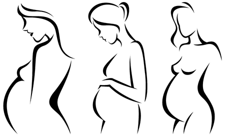 Stylized vector silhouettes of pregnant women