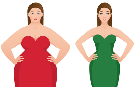 Before and after weight loss with fat and slim woman on a white background vector illustration