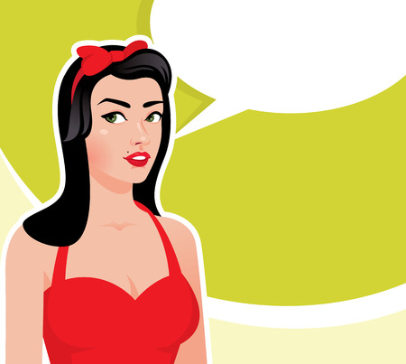 Vector illustration of a retro woman poster