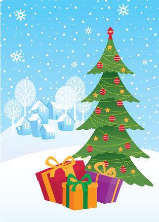 Christmas gifts under the Christmas tree and rural landscape vector cartoon illustration 일러스트