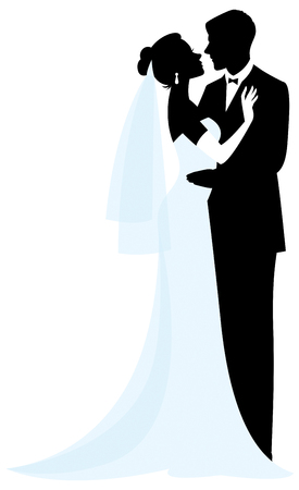 Bride and groom silhouettes vector illustration