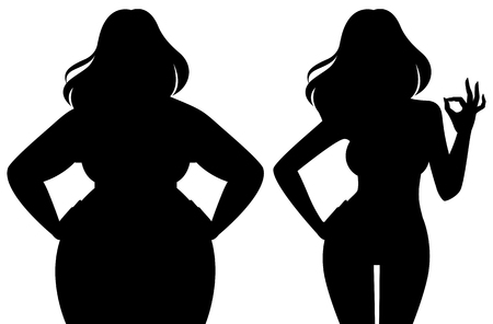 Silhouette of a slim and fat woman vector illustration Stock Illustratie