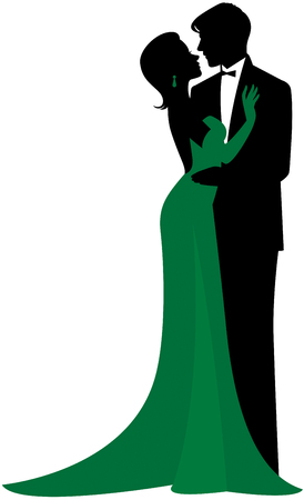 Vector silhouette in love couple of man and woman in each others arms