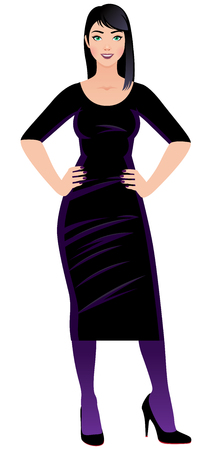 Woman dressed as a witch in full length vector illustration