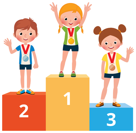 Gli sportivi dei bambini nello sport coprono con le medaglie sull'illustrazione del fumetto di vettore del piedistallo Archivio Fotografico - 95631321