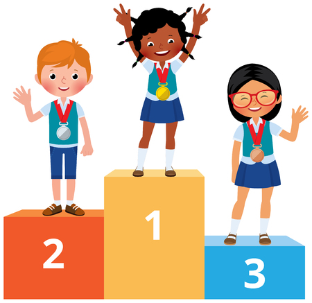 Children in school clothes with medals on the sports pedestal vector cartoon illustration. 일러스트