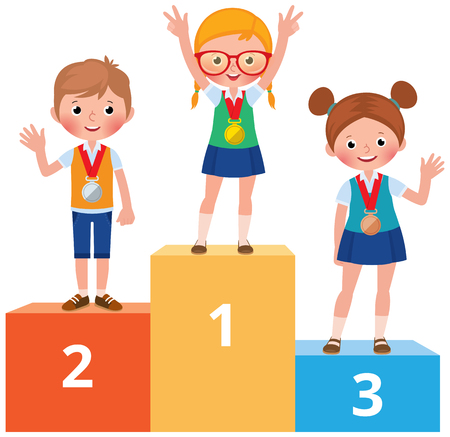 Children in school clothes with medals on pedestal vector cartoon illustration
