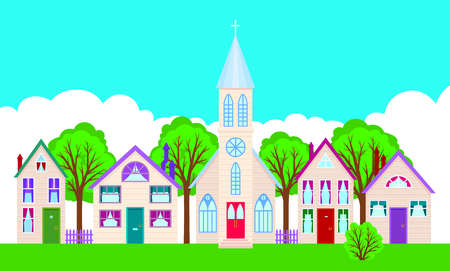 Colorful facades of the houses on a city street cartoon vector illustration