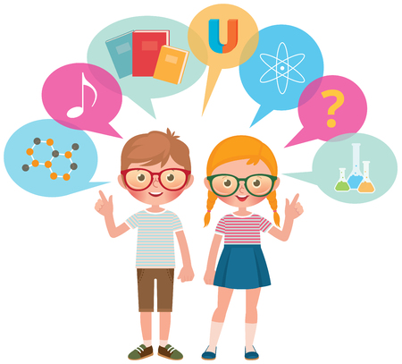 Two school pupils girl and boy and symbols different science and school subjects vector illustration