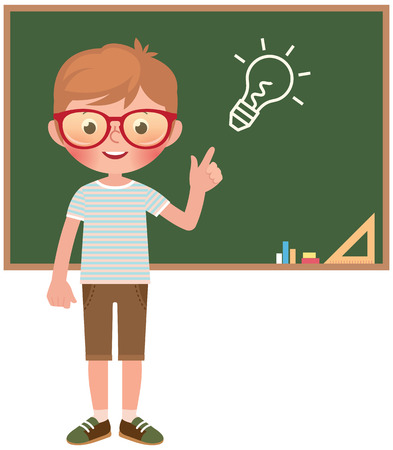 Vector cartoon illustration of a girl student at the school board isolated on white background