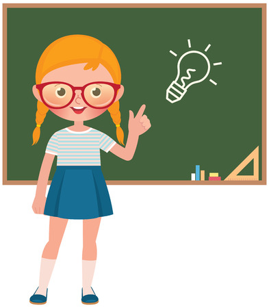 Vector cartoon illustration of a Child girl pupil at the school board isolated on white background 일러스트