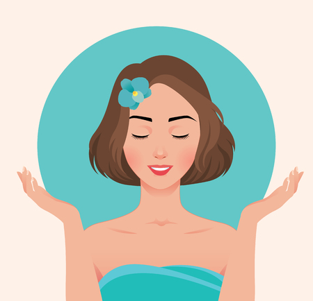 Portrait of a beautiful young woman who enjoys the beauty of her face vector illustration