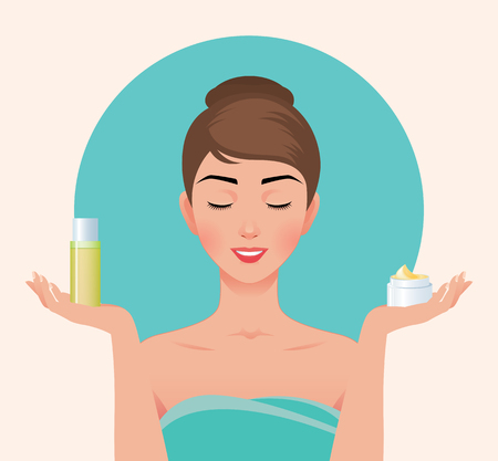 Beautiful woman in a bath towel is holding in her hands skin care products vector illustration