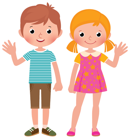 Boy and girl in full length welcome vector cartoon illustration