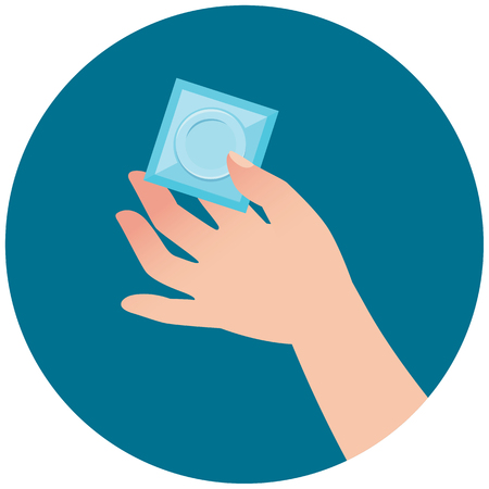 Female hand holding out a condom vector illustration