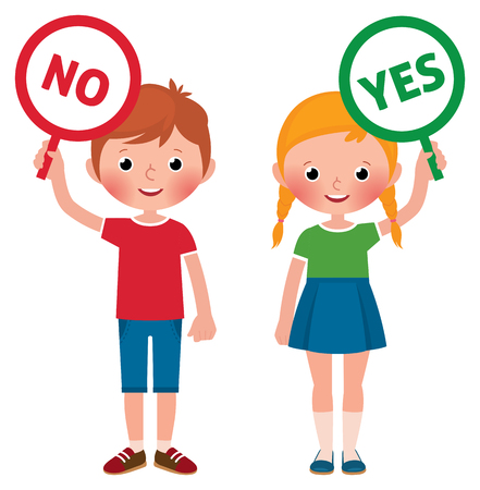 Girl and boy showing signs of yes and no vector illustration 일러스트