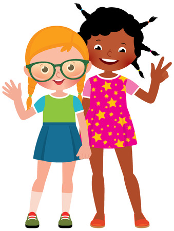 Girl friends Caucasian and African American in full length vector illustration