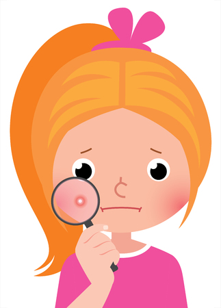 Girl with a pimple through a magnifying glass icon