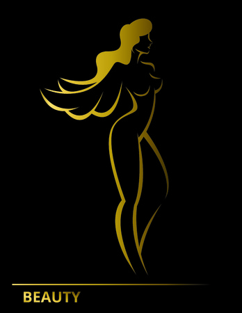 Stylized linear silhouette of a woman bird with wings symbol of femininity and beauty