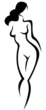 Stylized silhouette of a beautiful nude woman vector illustration