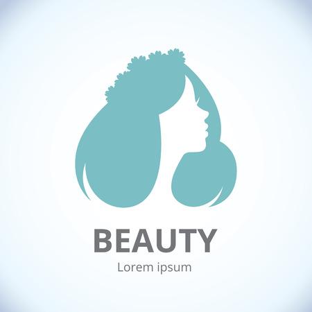 Stylized female portrait logo for beauty studio 일러스트