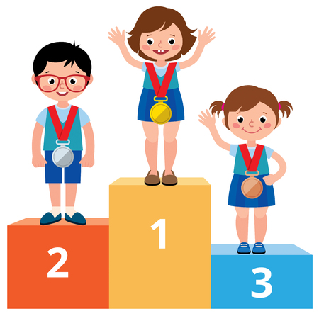 Children students in school clothes with medals for victory stand on the sports pedestal vector cartoon illustration