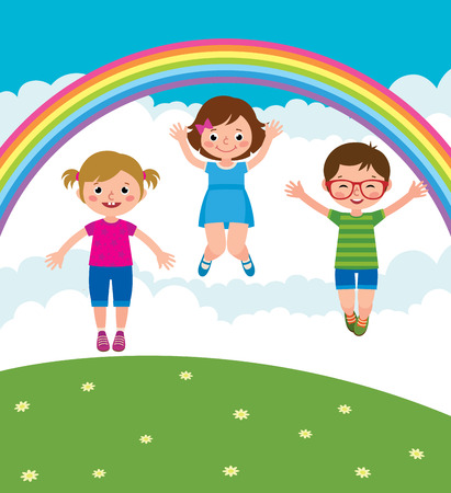 Group of kids playing and jump in the meadow under the rainbow vector cartoon illustration