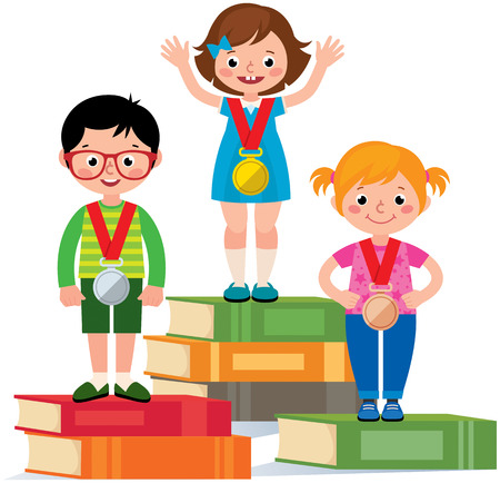 Group of little children standing on a pedestal of books with a medals for achievements