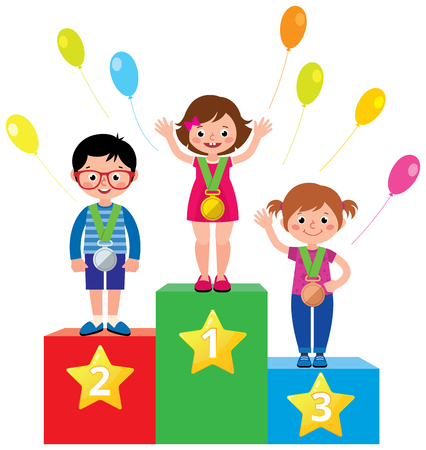 Group of little children standing on a pedestal with a sports medals for achievements vector illustration