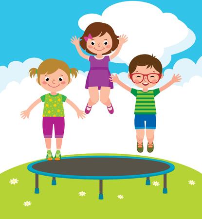 Stock Vector cartoon illustration of funny children jumping on a trampoline