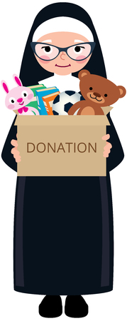 Christian nun holding a box of donations with toys and books vector cartoon illustration 일러스트