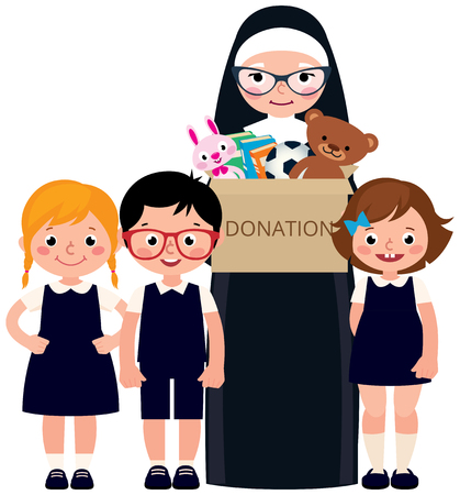 Christian nun and children holding a box of donations with toys and books vector cartoon illustration Ilustrace