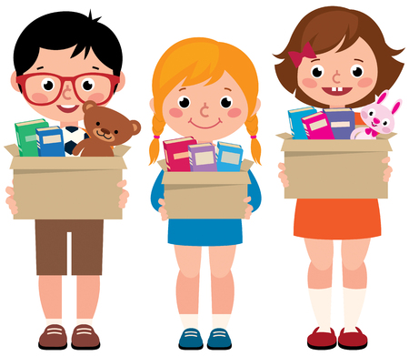 Group of little children girls and boys with boxes of donations in hands vector illustration