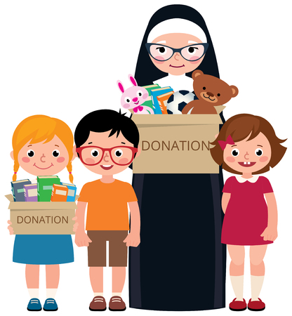 Senior Catholic nun and a group of children. Volunteers are engaged in charity work and donations. Vector cartoon illustration