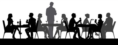 Black silhouettes of people sitting at restaurant tables eating and drinking vector illustration